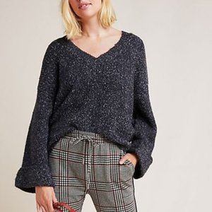 Anthropologie Maggie Bell Sleeve Sweater Gray Sz S
